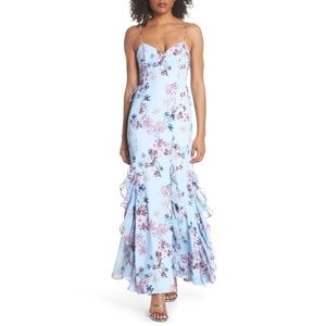 Fame and Partners Anna Lace-Up Trumpet Maxi Dress